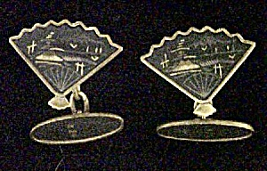 Pair of  Fan Cuff Links w/Oriental Scenery (Image1)