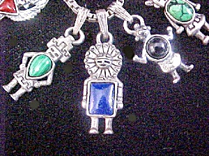 Five Silver Kachina Pendants W/chain