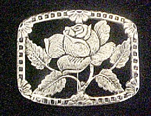 Rose Pin/broach - Silver-toned Metal