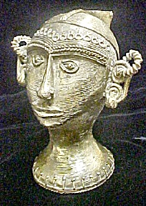 Bastar Asian Indian Metal Sculpture of Head (Image1)