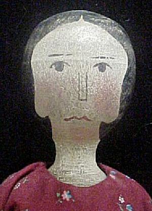 Wooden Folk Art Doll w/Original Clothes (Image1)