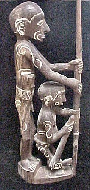 Carved  Asmat Ancestor Figure w/Daughter (Image1)