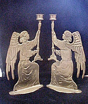 Pair Brass Angel Candle-Sticks (Image1)