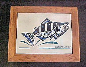 Wood Box W/tile Of Chinook Salmon