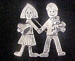 Boy And Girl Sterling Silver Pin