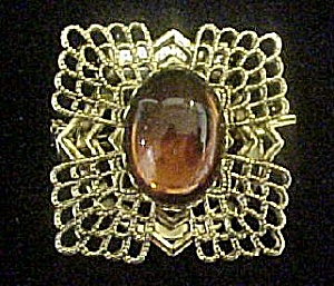 Jeweled Gold-Tone Clip w/Cabochon (Image1)
