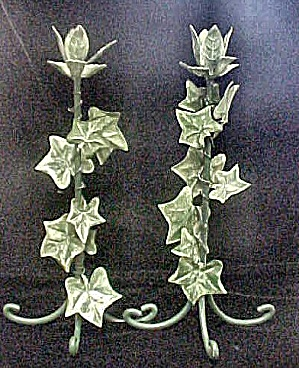 Pair  Metal Ivy Decorated Candle Sticks (Image1)