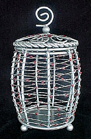 Metal Open Work Lidded Box W/wire And Beads