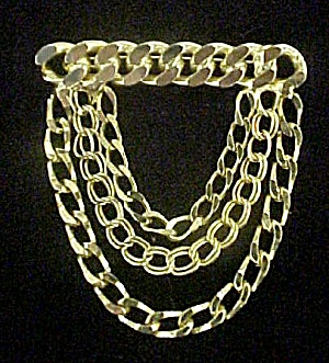 Striking Gold-Toned Drop Chain and Bar Pin (Image1)
