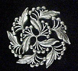Circular Floral Pin - Pewter Toned (Image1)