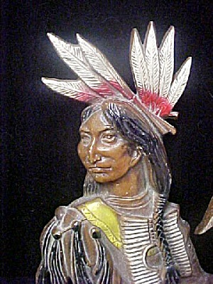 Vintage Native American Metal Figural Plaque (Image1)