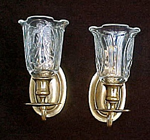 Pair Brass Scones W/decorated Glass Globes