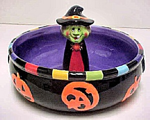 Halloween Candy Dish W/delightful Witch