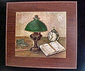 Vintage Metal Wall Plaque Antique Lamp (Image1)
