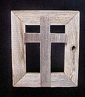 Folk Art Wooden Cross With Frame