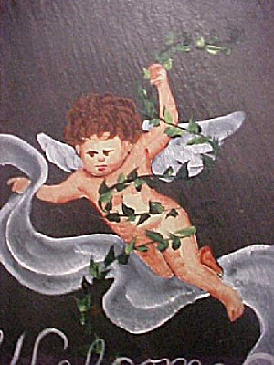 Hand Painted Slate Cherub Welcome Slab (Image1)