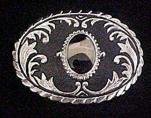 Western Metal Belt Buckle w/Agate (Image1)