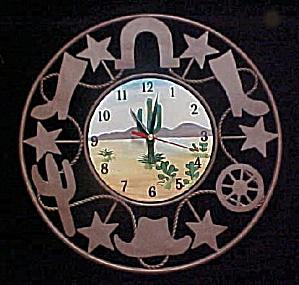 Clock - Western Motif - Rustic Metal (Image1)