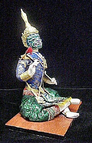 Thailand Display Doll W/khon Ceremonial Mask