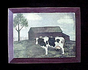 Vintage Folk Art Cow Print Decoupaged on Wood (Image1)