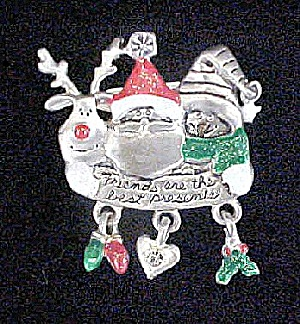 Christmas Pin w/Santa, Reindeer and Penguin (Image1)