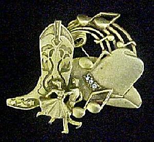 Cowboy Theme Gold-Toned Pin w/Rhinestones (Image1)