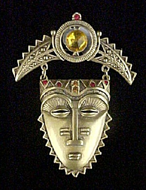 Exotic Mask Style Pin - Signed Avon
