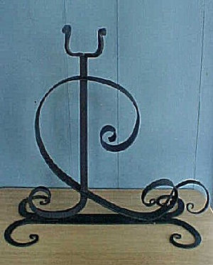 Curlicue Wrought Iron Sculpture Candle Holder
