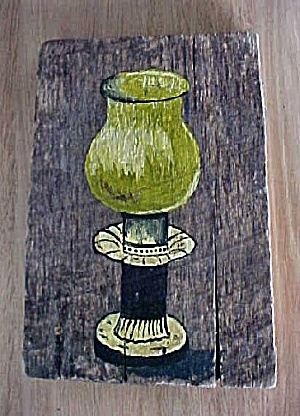 Primitive Folk Art Lamp Painted On Wood