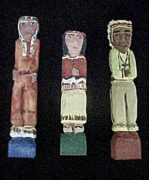 Carved and Painted Native American Figures (Image1)