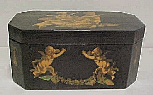 Vintage Black Wood Box w/Decoupage Cherubs (Image1)