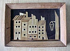 Vintage Bamboo Art of Street Scene (Image1)