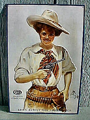 Colt Revolvers - The Western Girl Tin Sign (Image1)