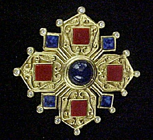Jeweled Gold-toned Pin W/25 Stones