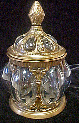 Unusual Glass/brass Vanity Box - India