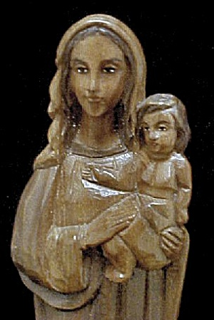 Wood Carved Biblical Mother and Child (Image1)