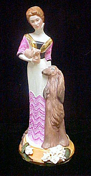 Lady W/dogs Ceramic Figurine