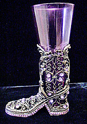 Be-jeweled Boot W/glass Vase