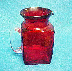 Ruby Red Small Pitcher W/clear Handle