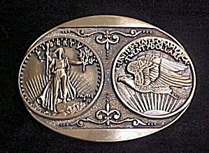 USA Twenty Dollars Design Brass Belt Buckle (Image1)