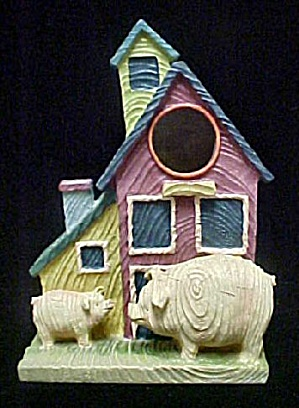 Whimsical Bird House W/pigs