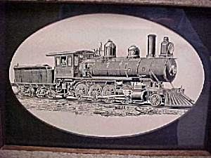Old Train Locomotive and Coal Car Print (Image1)
