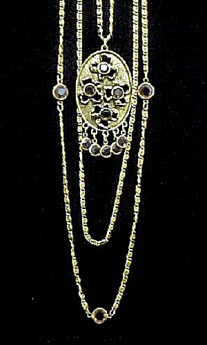 Multi Chain Vintage Goldette Necklace (Image1)