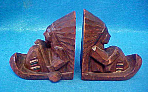 Native American in Canoe Bookends (Image1)