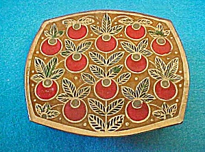 Brass Enameled Box w/Apple Design - India (Image1)