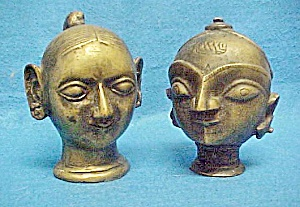Pair Older Asian Indian Deity's Heads (Image1)