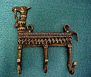 Vintage Cast Brass Llama W/three Hooks