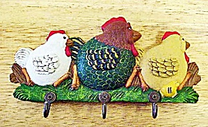 Enesco Trio Chickens/rooster Hooks - Signed