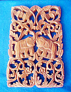 Elephant Plaque - Hand Carved - Thailand