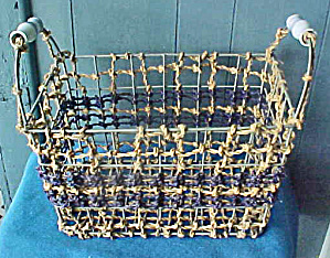Large Wire Frame Hemp Basket Ceramic Handle